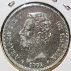 Monedas de España: 5 PESETAS 1871 *18 *71 SDM (PLATA 900) - AMADEO I. Lote 191655631