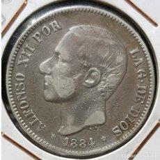 Monedas de España: 5 PESETAS 1884 *18 *84 MSM (PLATA 900) - ALFONSO XII. Lote 191656540