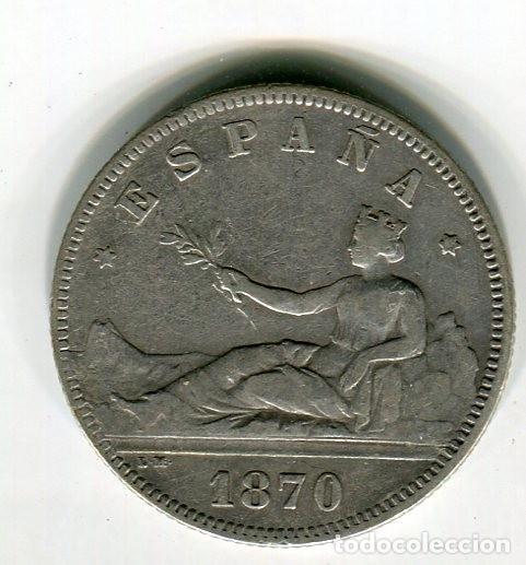 DOS (2) PESETAS GOBIERNO PROVISIONAL AÑO 1870 *18 *73 (Numismática - España Modernas y Contemporáneas - De Isabel II (1.834) a Alfonso XIII (1.931))