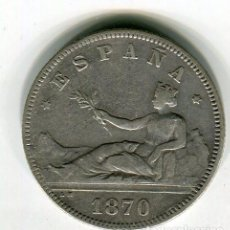 Monedas de España: DOS (2) PESETAS GOBIERNO PROVISIONAL AÑO 1870 *18 *73. Lote 55506204