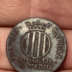 Monedas de España: MONEDA COBRE QUARTO Y MEDIO FERNANDO VII 1811 CATALUÑA ORIGINAL. Lote 191956055