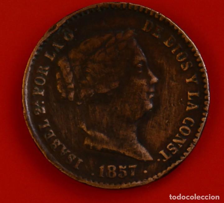 ISABEL II: 10 CTS. DE REAL DE 1857 DE SEGOVIA, MBC (Numismática - España Modernas y Contemporáneas - De Isabel II (1.834) a Alfonso XIII (1.931))