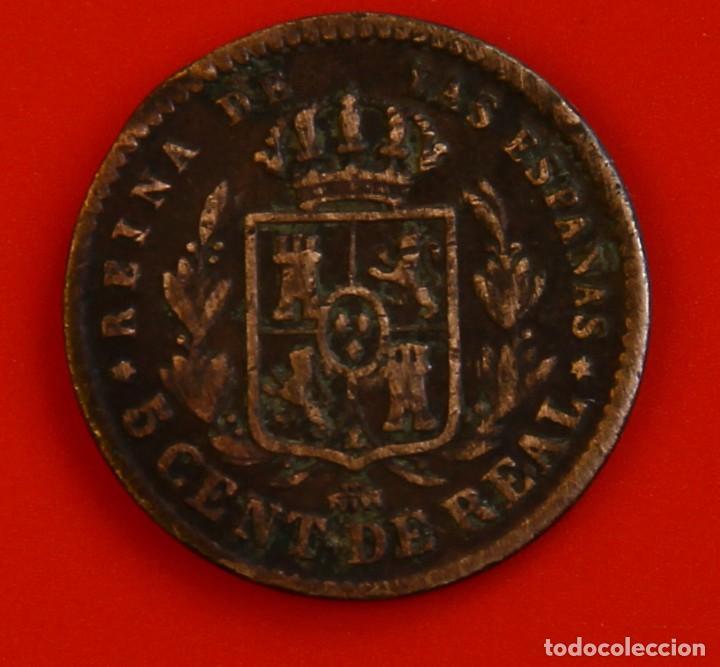 Monedas de España: Isabel II: 5 cts. de Real de 1864 de Segovia, MBC - Foto 2 - 192274542