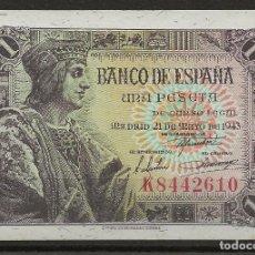 Monedas de España: R37/ BILLETE ESTADO ESPAÑOL 1 PTA 21 DE MAYO DE 1943, FERNANDO EL CATOLICO.... Lote 192717657