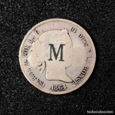 Monedas de España: RARA MONEDA DE PLATA ISABEL II, 4 REALES 1864 BARCELONA. MARCAS RESELLO M.R.G.. Lote 45631520