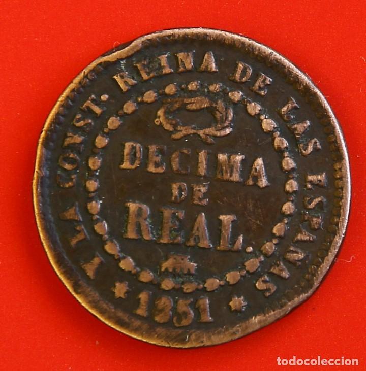 ISABEL II: DÉCIMA DE REAL DE 1851 DE SEGOVIA, MBC- (Numismática - España Modernas y Contemporáneas - De Isabel II (1.834) a Alfonso XIII (1.931))