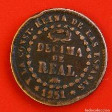 Monedas de España: ISABEL II: DÉCIMA DE REAL DE 1851 DE SEGOVIA, MBC-. Lote 194075215