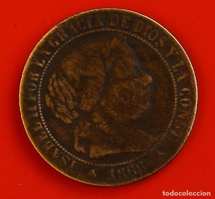 ISABEL II: 1 CTO. DE ESCUDO DE 1866 DE SEGOVIA. MBC- (Numismática - España Modernas y Contemporáneas - De Isabel II (1.834) a Alfonso XIII (1.931))