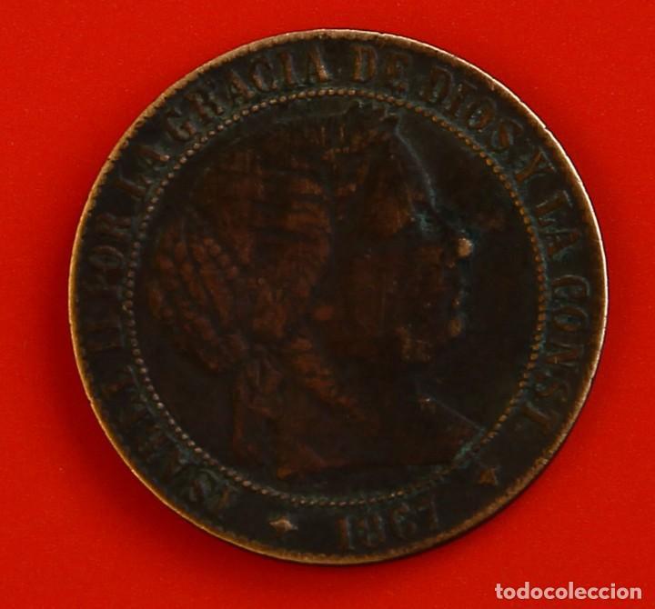 ISABEL II: 1 CTO. DE ESCUDO DE 1867 DE JUBIA. MBC (Numismática - España Modernas y Contemporáneas - De Isabel II (1.834) a Alfonso XIII (1.931))
