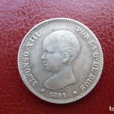 Monedas de España: 2 PESETAS 1891,ALFONSO XIII (18*91*)-FLOJAS,PERO VISIBLES.UN BUEN MBC+.. Lote 194228606