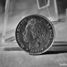 Monedas de España: ESPAÑA 1 PESETAS ALFONSO XIII 1893 ESTRELLAS 18-93 PG L RARA 3083. Lote 194242026