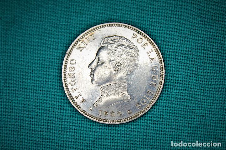 ESPAÑA 2 PESETAS ALFONSO XIII 1905 ESTRELLAS 19-05 SM V 3084 (Numismática - España Modernas y Contemporáneas - De Isabel II (1.834) a Alfonso XIII (1.931))