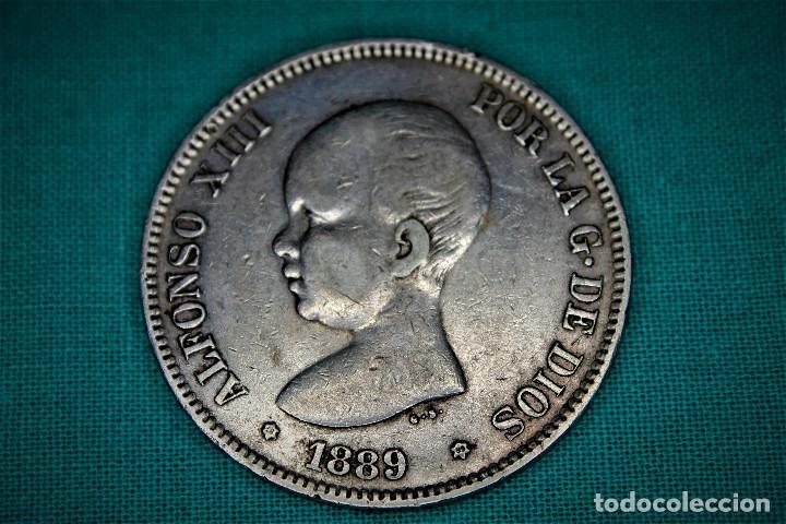 ESPAÑA 5 PESETAS ALFONSO XIII 1889 ESTRELLAS 18-89 MP M 3089 (Numismática - España Modernas y Contemporáneas - De Isabel II (1.834) a Alfonso XIII (1.931))