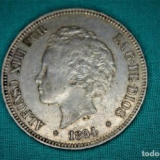 Monedas de España: ESPAÑA 5 PESETAS ALFONSO XIII VARIANTE OREJA RALLADA 1894 ESTRELLAS 18-94 PG V 3088. Lote 194244663