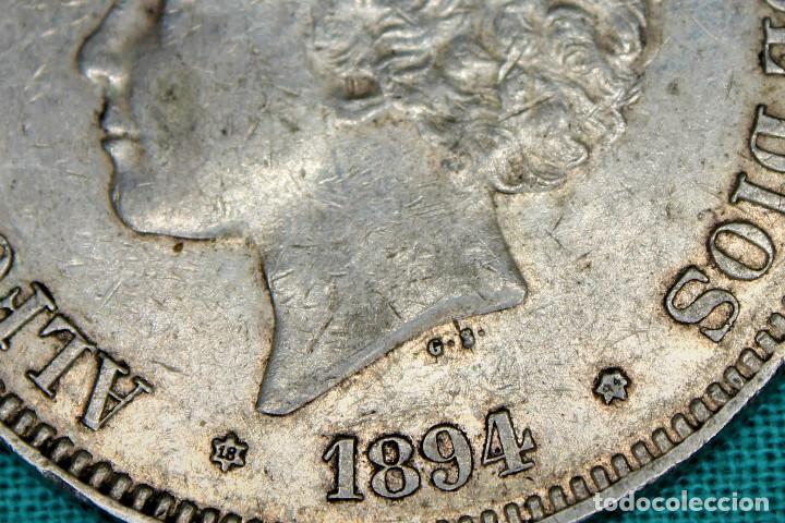 Monedas de España: España 5 Pesetas Alfonso XIII Variante Oreja Rallada 1894 Estrellas 18-94 PG V 3088 - Foto 3 - 194244663