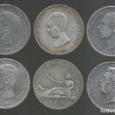 Monedas de España: 6 MONEDAS DE 5 PESETAS PLATA. LOTE 4. Lote 194317962