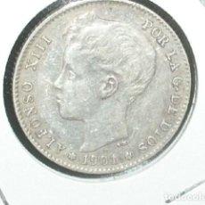 Monedas de España: MONEDA PLATA, ALFONSO XIII , 1 PESETA 1901 , ESTRELLAS VISIBLES 19 01. Lote 194657791