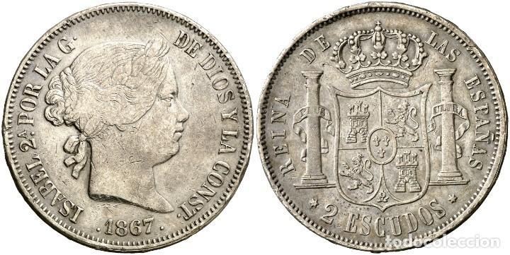 2 ESCUDOS ISABEL II 1867 MADRID (Numismática - España Modernas y Contemporáneas - De Isabel II (1.834) a Alfonso XIII (1.931))