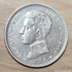 Monedas de España: ALFONSO XIII 2 PESETAS 1904 19-** M.S. V PLATA . Lote 194665733