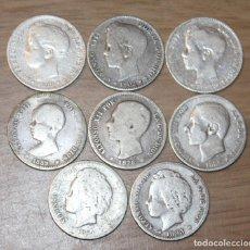 Monedas de España: 1 PESETA ALFONSO XII Y XIII. 8 MONEDAS. PLATA. Lote 194666468