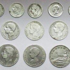 Monedas de España: 15 MONEDAS ESPAÑOLAS DE PLATA DEL GOBIERNO PROVISIONAL, ALFONSO XII Y ALFONSO XIII LOTE-2317. Lote 194674875