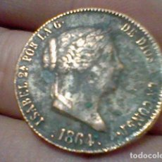 Monedas de España: 1864 25 CENTIMOS REAL ISABEL MONEDA COBRE CIRCULADA REINA ESPAÑAS . Lote 194724815