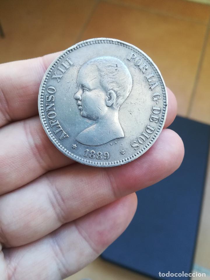 MONEDA DE 5 PESETAS DE ALFONSO XIII DEL AÑO 1889*-8-89 MP M.DE PLATA.ORIGINAL% (Numismática - España Modernas y Contemporáneas - De Isabel II (1.834) a Alfonso XIII (1.931))