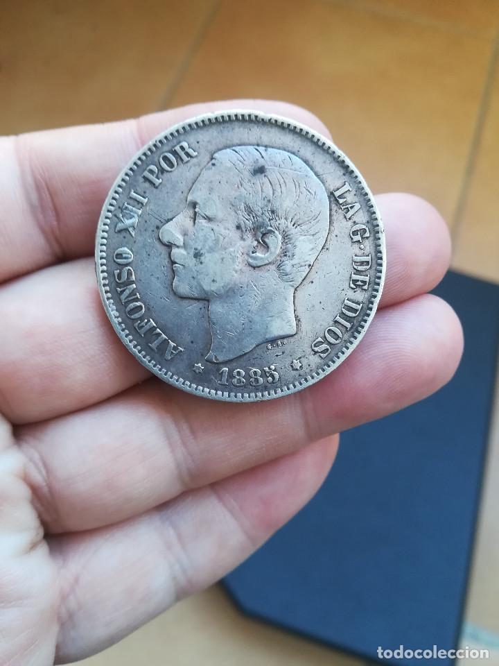 MONEDA DE 5 PESETAS DE ALFONSO XII DEL AÑO 1885*-18-87 MS M.DE PLATA.ORIGINAL% (Numismática - España Modernas y Contemporáneas - De Isabel II (1.834) a Alfonso XIII (1.931))