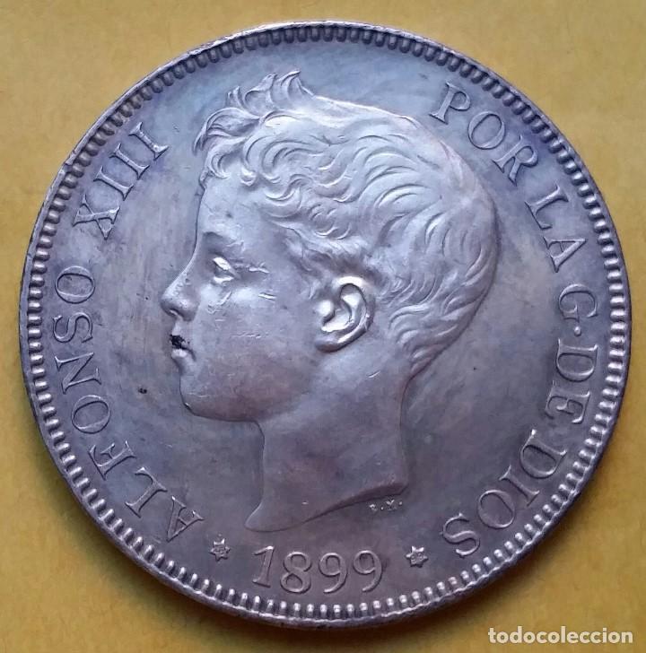Monedas de España: OCASIÓN LOTE MONEDAS 5 PESETAS ALFONSO XIII PROCEDENTES DE SUBASTA. DUROS DE PLATA 1898 Y 1899. - Foto 2 - 194887521