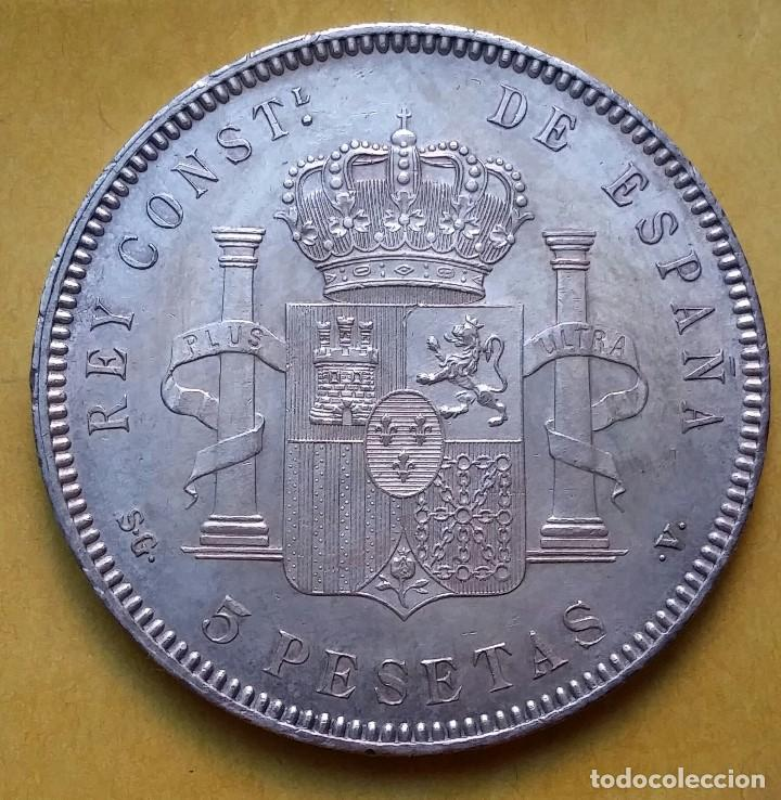 Monedas de España: OCASIÓN LOTE MONEDAS 5 PESETAS ALFONSO XIII PROCEDENTES DE SUBASTA. DUROS DE PLATA 1898 Y 1899. - Foto 3 - 194887521