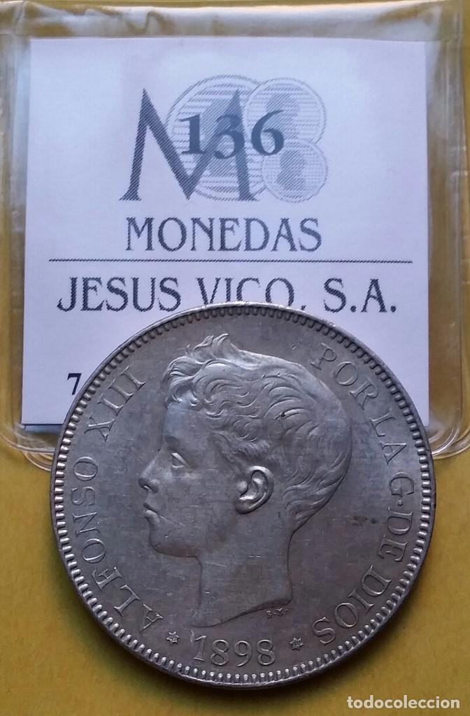 Monedas de España: OCASIÓN LOTE MONEDAS 5 PESETAS ALFONSO XIII PROCEDENTES DE SUBASTA. DUROS DE PLATA 1898 Y 1899. - Foto 4 - 194887521