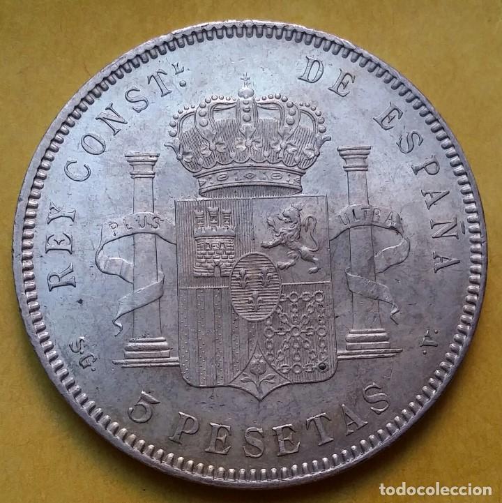 Monedas de España: OCASIÓN LOTE MONEDAS 5 PESETAS ALFONSO XIII PROCEDENTES DE SUBASTA. DUROS DE PLATA 1898 Y 1899. - Foto 6 - 194887521