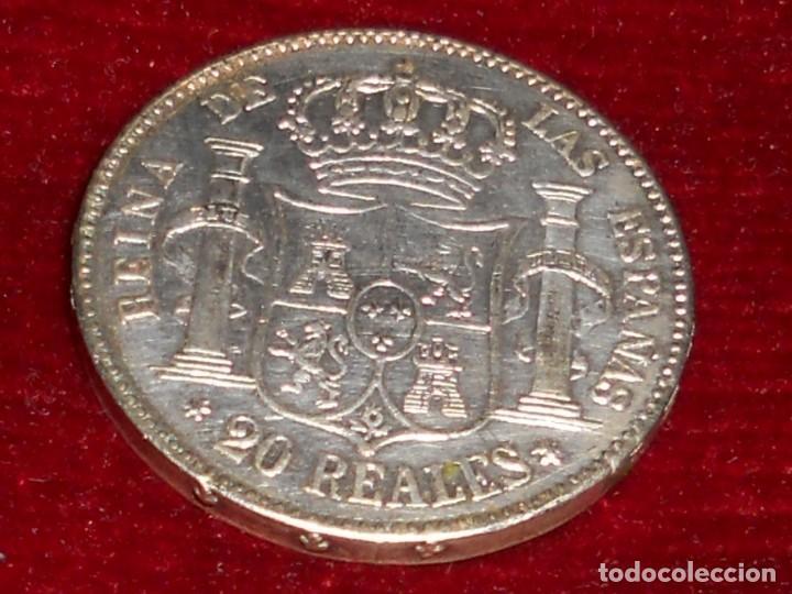 ANTIGUA MONEDA DE PLATA DEL 2O REALES ISABEL 2ª POR LA G. DE DIOS 1850 (Numismática - España Modernas y Contemporáneas - De Isabel II (1.834) a Alfonso XIII (1.931))