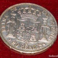 Monedas de España: ANTIGUA MONEDA DE PLATA DEL 2O REALES ISABEL 2ª POR LA G. DE DIOS 1850. Lote 194891028