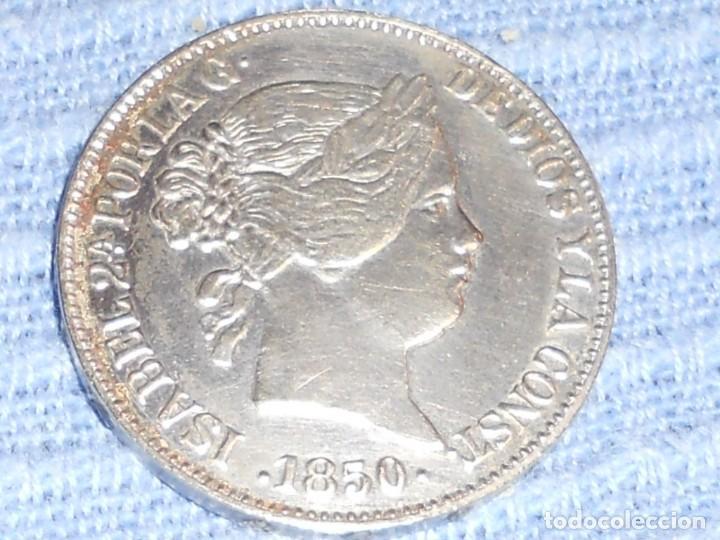 Monedas de España: ANTIGUA MONEDA DE PLATA DEL 2O REALES ISABEL 2ª POR LA G. DE DIOS 1850 - Foto 8 - 194891028