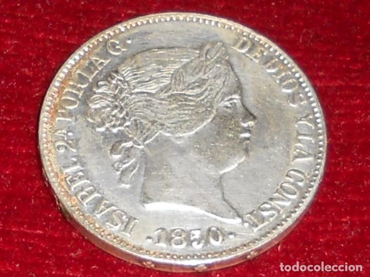 Monedas de España: ANTIGUA MONEDA DE PLATA DEL 2O REALES ISABEL 2ª POR LA G. DE DIOS 1850 - Foto 9 - 194891028
