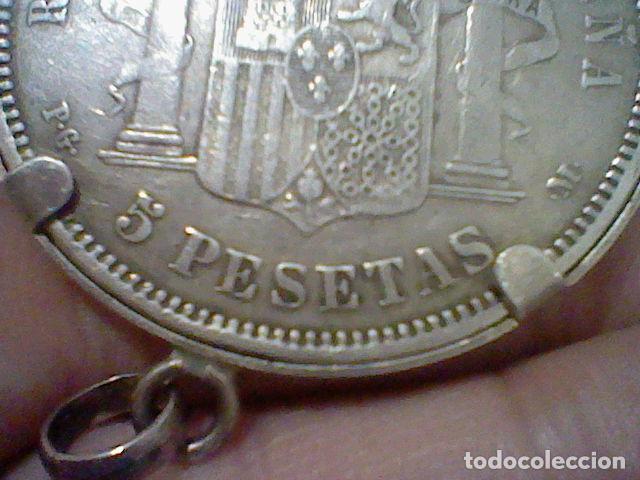 Monedas de España: 1861 5 PTS ALFONSO XIII PELON ESTRELLA 91 P.G. M. ENGARZADA PARA LLAVERO O COLGANTE PLATA ORIGINAL - Foto 2 - 194891485