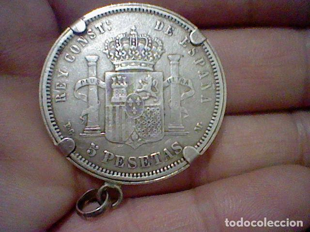 Monedas de España: 1861 5 PTS ALFONSO XIII PELON ESTRELLA 91 P.G. M. ENGARZADA PARA LLAVERO O COLGANTE PLATA ORIGINAL - Foto 4 - 194891485