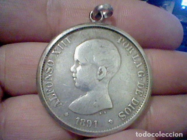 Monedas de España: 1861 5 PTS ALFONSO XIII PELON ESTRELLA 91 P.G. M. ENGARZADA PARA LLAVERO O COLGANTE PLATA ORIGINAL - Foto 5 - 194891485