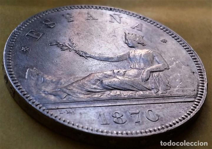 Monedas de España: EXCEPCIONAL MONEDA 5 PESETAS DURO DE PLATA GOB. PROVISIONAL 1870. ESTRELLAS VISIBLES. RESTOS BRILLO. - Foto 2 - 194902880