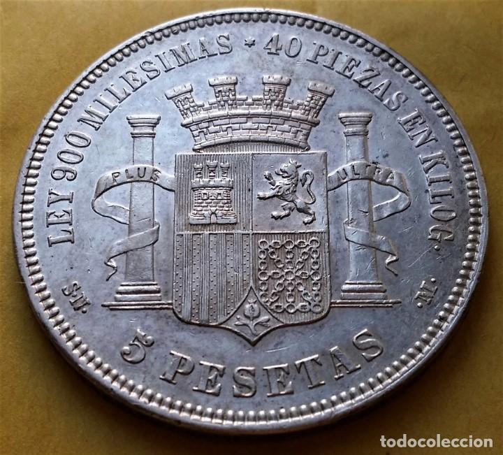 Monedas de España: EXCEPCIONAL MONEDA 5 PESETAS DURO DE PLATA GOB. PROVISIONAL 1870. ESTRELLAS VISIBLES. RESTOS BRILLO. - Foto 3 - 194902880