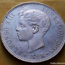 Monedas de España: OCASION EXCEPCIONAL LOTE MONEDAS 5 PESETAS ALFONSO XIII 1898 Y 1899, RESTOS BRILLO.. Lote 194905325