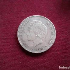 Monedas de España: DURO DE 5 PESETAS DE PLATA DE 1892 ESTRELLAS VISIBLES. Lote 194964355