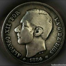 Monedas de España: 1 PESETA 1884 *18*84 MSM. RARÍSIMA Y MUY ESCASA. ESTRELLAS PERFECTAS.PLATA. Lote 194967095