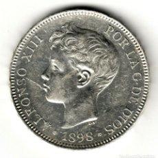 Monedas de España: ESPAÑA 5 PESETAS PLATA 1898 SG.V *18* *98 REY ALFONSO XIII - PRECIOSO DURO. Lote 195023016
