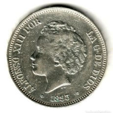 Monedas de España: ESPAÑA 5 PESETAS PLATA 1893 PG.L *18* *93* ALFONSO XIII DURO DEL RIZOS PRECIOSO. Lote 195024446