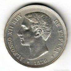 Monedas de España: ESPAÑA 5 PESETA PLATA 1876 DE.M. *18* *76* ALFONSO XII VARIANTE OREJA RAYADA S/C. Lote 195026591