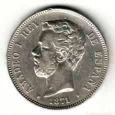 Monedas de España: ESPAÑA 5 PESETAS PLATA 1871 SD.M. *18* *71* AMADEO I DE SABOYA - BONITO DURO. Lote 195028823