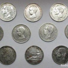Monedas de España: 10 MONEDAS DE 5 PESETAS DE PLATA GOBIERNO PROVISIONAL, AMADEO I, ALFONSO XII, ALFONSO XIII LOTE 2334. Lote 195124292