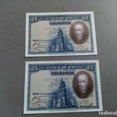 Monedas de España: DOS BILLETES 25 PESETAS 1.928. CORRELATIVOS. Lote 195174012